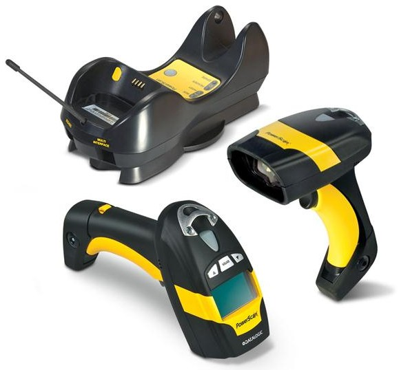Datalogic (PSC). Cordless barcode readers / scanners. Datalogic PowerScan PM8500 rugged industrial handheld data collection cordless area imager. Omnidirectional reading of 1D and 2D barcodes. Lowest price at barcode.co.uk