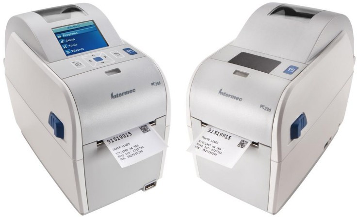 "Intermec. Desktop (medium duty) thermal label printers. Intermec PC23d narrow direct thermal barcode label printer. Print 2"" wide labels / tickets / tags. Options: Ethernet LAN, USB keyboard, LCD display, USB host for scales input, etc.. Lowest price at barcode.co.uk"