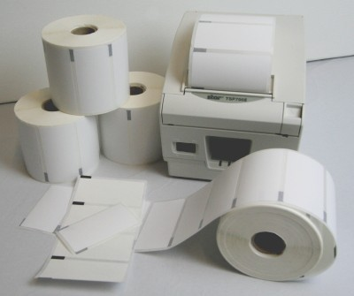 Star Micronics. Labels / blank pre-cut rolls with gaps (for thermal label printers). Star Micronics TSP700 Direct Thermal (DT) self-adhesive sticky printer labels - PEELABLE / REMOVABLE adhesive with Black Mark. Lowest price at barcode.co.uk
