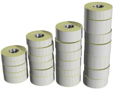 "Zebra (Eltron). Labels / blank pre-cut rolls with gaps (for thermal label printers). Zebra direct thermal self-adhesive labels, 5"" outside diameter rolls. Lowest price at barcode.co.uk"