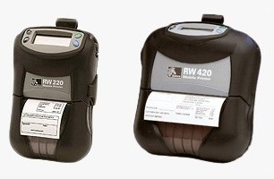 Zebra (Eltron). Mobile (on the move) portable belt thermal label printers. Zebra RW 420 / RW 220 (RW420 / RW220) 4 inch and 2 inch mobile direct thermal receipt printer paper rolls. Lowest price at barcode.co.uk